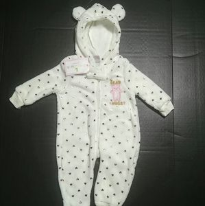 NWT!! Baby Girl size 6-9M One Piece Hooded Pajamas